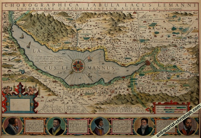 Splendid Hondius-map of Lake Geneva